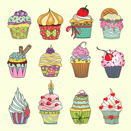 hand drawn cartoon: Delicious yummy vector cupcakes isolated on white background. Cartoon tasty cupcakes in bright colors