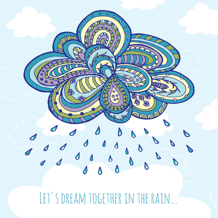 cloudburst: Hand drawn doodle clouds with rain for greeting cards, textiles, book design, scrapbook. Cute vector illustration with place for your text.
