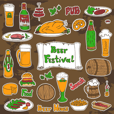 removable: Sketched beer and snacks set, vector hand-drawn illustration. Beer festival, Oktoberfest signs and text. Removable background texture. Illustration