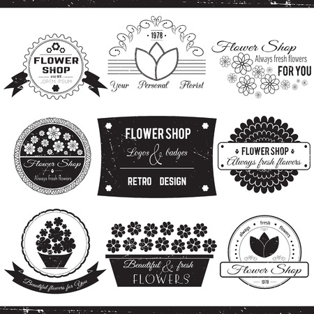 shop sign: Set of flower symbols, badges, icons and signs. Vector floral collection. Black and white, retro designed elements for flower shops and florists.