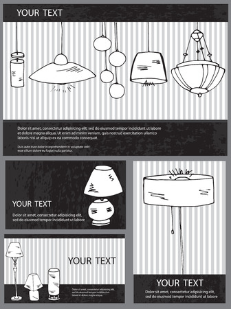A set of vector household lamps, chandeliers and floor lamps. Isolated hand drawn lamps for your design. Can be used for business cards, lighting stores catalogs.  イラスト・ベクター素材