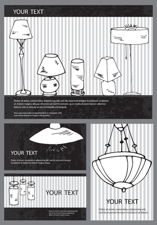 lustre: A set of vector household lamps and floor lamps. Isolated hand drawn lamps for your design. Can be used for business cards, lighting  stores catalogs.