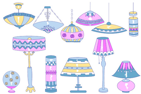A set of bright doodle vector chandeliers, household lamps and floor lamps.