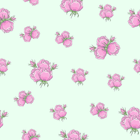rosebuds: Classic seamless vintage rose pattern on white background. Roses collected in bouquets, pink rosebuds. Can be used for fabric prints, scrapbooking, cards, design paper Illustration