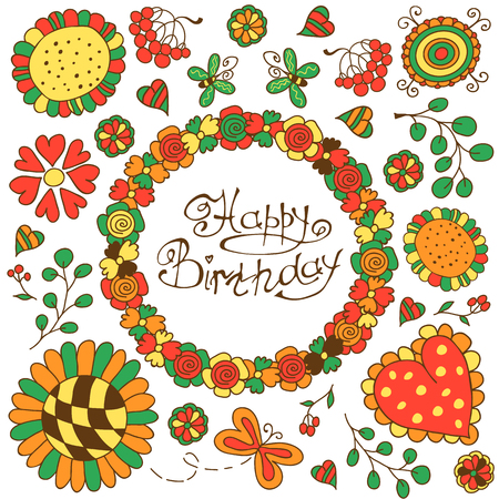 mariposa: Hand drawn vector flower card template. Bright doodles: flowers, berries and butterflies. For greeting cards, invitations, wallpapers, backgrounds.
