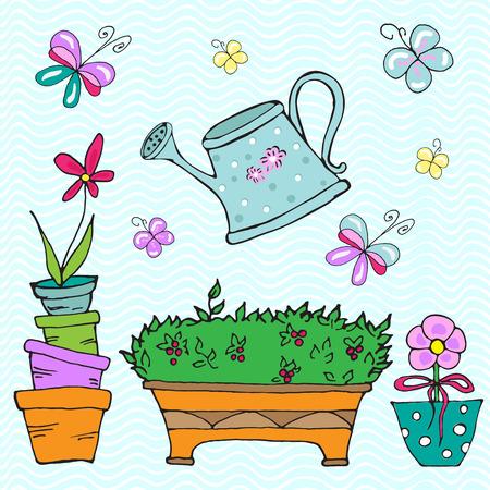 flowerpots: Collection of doodle sketch elements: watering can, flowerpots, butterflies