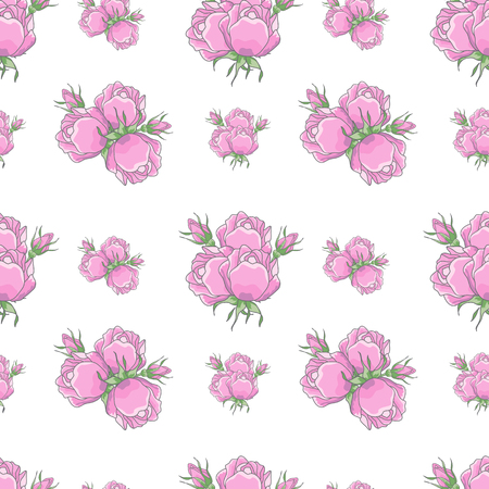 rosebuds: Classic seamless vintage rose pattern on white background. Roses collected in bouquets, pink rosebuds. Can be used for fabric prints, scrapbooking, cards, design paper Stock Photo