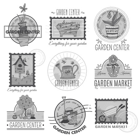 removable: Set of retro garden center emblems, labels, badges. Vintage stamps with hand drawn garden elements and removable background textures.