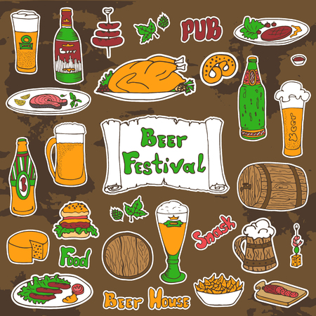 removable: Sketched colored beer and snacks set, vector hand-drawn illustration. Beer festival, Oktoberfest signs and text. Removable background texture.