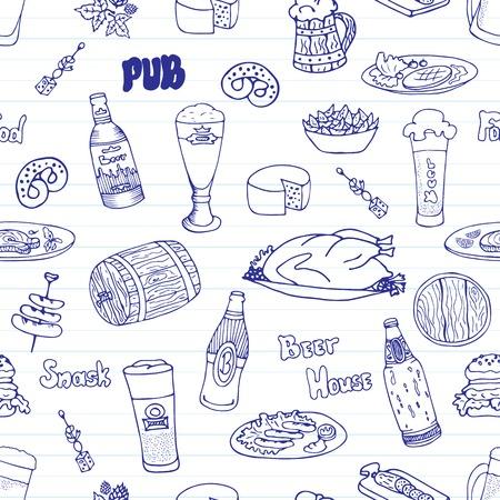 oktoberfest food: Hand drawn vector seamless Oktoberfest pattern. Beer festival doodles. Beer bottles, glasses, food and snacks. Can be used for backgrounds, fabric prints, scrapbooking, cards, design paper Illustration