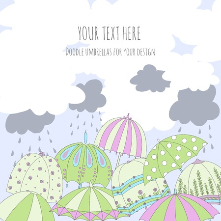 Vector colorful umbrellas, clouds and rain drops. Template for greeting card with place for your text.