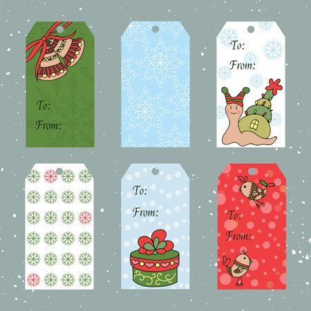 vintage wallpaper: Vector set of Christmas tags. Winter label cards, part of Christmas Toys collection. For Christmas and New Year greeting cards, invitations, gifts decoration, sales design, scrapbooking and other.