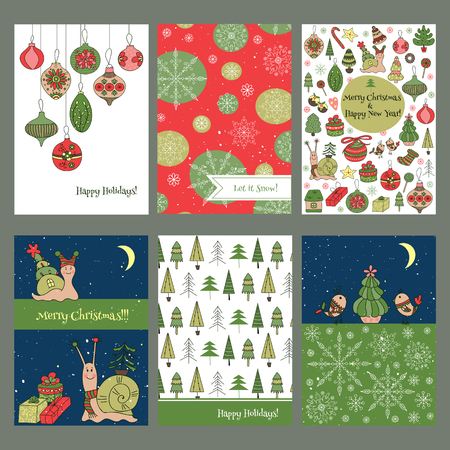 holiday card: Winter holiday card templates set with Christmas decorations. Greeting postcards, part of Christmas Toys collection. For invitations, scrapbooking, calendars, New Years and Christmas designs.
