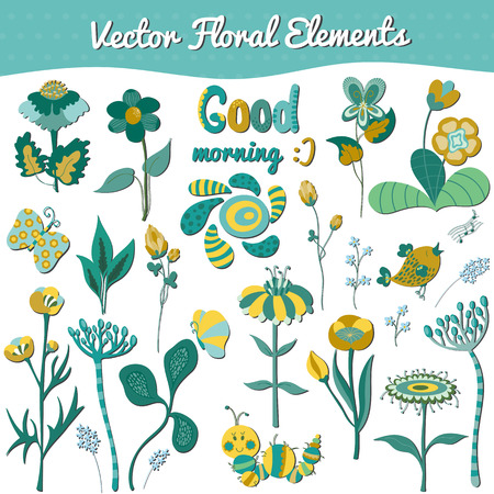 floral elements: Cute vector set of spring floral elements and funny animals for greeting cards, baby shower design, notes, brochures, tags and labels, invitations, backgrounds, scrapbooking, calendars, etc.