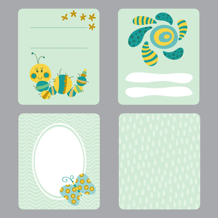 Cute Set Of Printable Templates For Greeting Cards Design Baby
