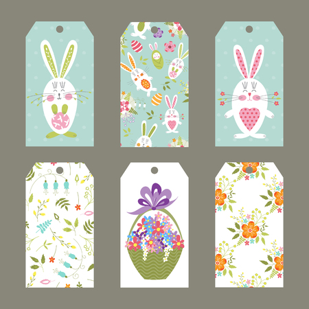Vector set of Easter tags with funny bunnies and flowers.