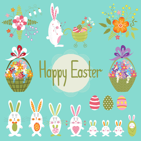 Cute vector Easter set with funny bunnies and flowers. Colorful spring elements. For greeting cards, brochures, tags and labels, invitations, scrapbooking, calendars, etc.