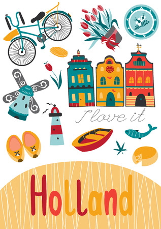 Netherlands vector card template with traditional Holland elements. Travel touristic background. For greeting cards, travel brochures, tags and labels, souvenir production, invitations, calendars.  イラスト・ベクター素材