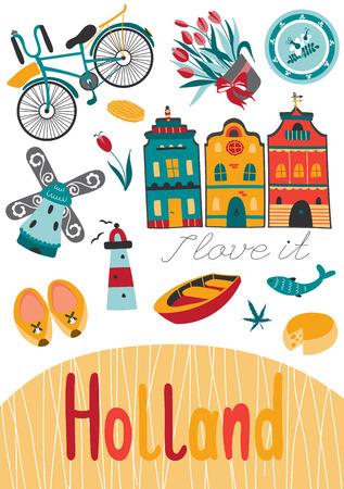 Holanda plantilla de la tarjeta del vector con los elementos tradicionales de Holanda. Fondo del recorrido turístico. Para tarjetas de felicitación, folletos de viajes, etiquetas y etiquetas, la producción de regalos, invitaciones, calendarios.