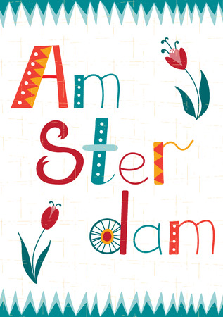 dutch culture: Amsterdam vector card template with lettering and removable texture. Travel touristic background. For greeting cards, travel brochures, tags and labels, souvenir production, invitations, calendars.