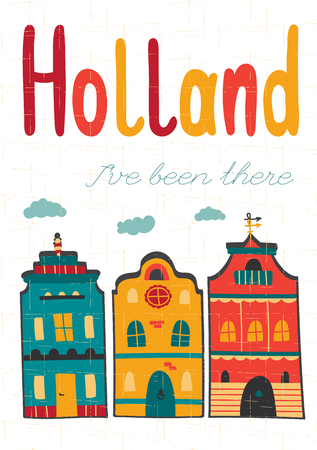 souvenir: Netherlands vector card template with traditional Holland architecture. Travel touristic background. For greeting cards, travel brochures, tags and labels, souvenir production, calendars. Illustration