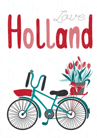 souvenir traditional: Netherlands vector card template with traditional Holland elements. Travel touristic background. For greeting cards, travel brochures, tags and labels, souvenir production, invitations, calendars. Illustration
