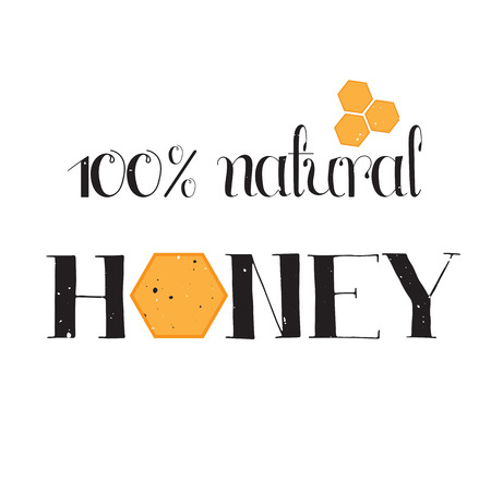 eco slogan: Vector hand drawn lettering. Handwritten unique phrase, black on white background. Calligraphy for card, logo, badge, tag and other designs. Honey natural healthy food production.