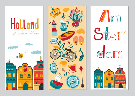 Netherlands vector set of vertical card templates with traditional Holland elements. Travel touristic banners. For greeting cards, brochures, tags and labels, souvenirs, invitations, calendars.  イラスト・ベクター素材