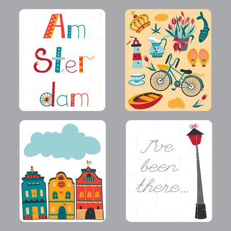touristic: Netherlands vector set of small card templates with traditional Holland elements. Travel touristic illustration. For greeting cards, brochures, tags and labels, souvenirs, invitations, calendars.