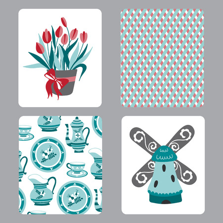 faience: Netherlands vector set of small card templates with traditional Holland elements. Travel touristic illustration. For greeting cards, brochures, tags and labels, souvenirs, invitations, calendars.