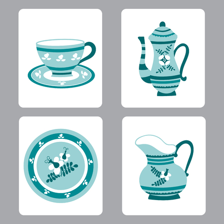 faience: Netherlands vector set of small card templates with traditional delft elements. Travel touristic illustration. For greeting cards, brochures, tags and labels, souvenirs, invitations, calendars.