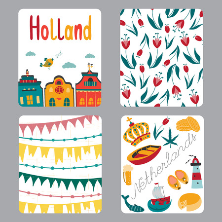 clogs: Netherlands vector set of small card templates with traditional Holland elements. Travel touristic illustration. For greeting cards, brochures, tags and labels, souvenirs, invitations, calendars.