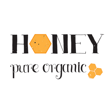 apiculture: Vector hand drawn lettering. Pure organic honey. Handwritten unique phrase, black on white background. Calligraphy for card, logo, badge, tag and other designs. Honey natural healthy food production. Illustration