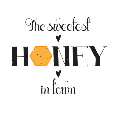 apiculture: Vector hand drawn lettering. Sweetest honey in town. Handwritten unique phrase, black on white background. Calligraphy for card, logo, badge, tag. Honey natural healthy food production.