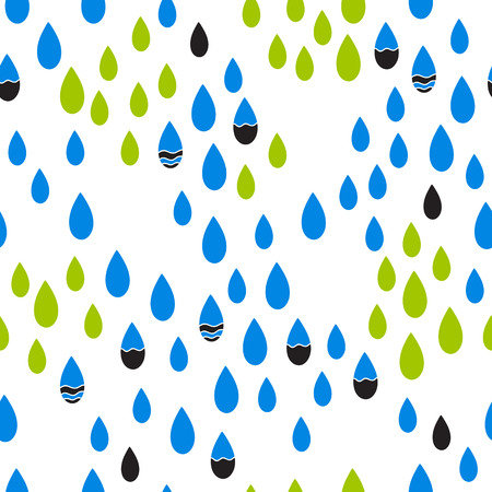april: Abstract seamless pattern with rain drops. Vector background in blue and green colors. Can be used for wallpaper, pattern fills, surface textures, scrapbooking, fabric prints.