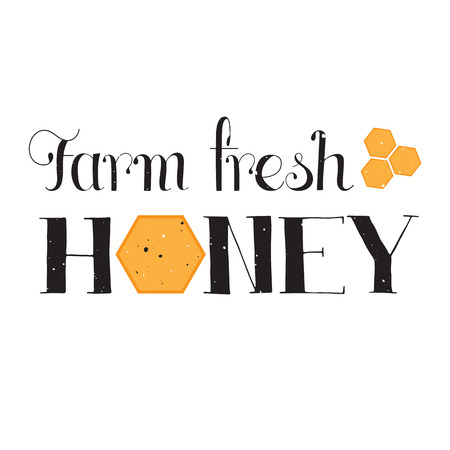 eco slogan: Vector hand drawn lettering. Farm fresh honey. Handwritten unique phrase, black on white background. Calligraphy for card, logo, badge, tag and other designs. Honey natural healthy food production.
