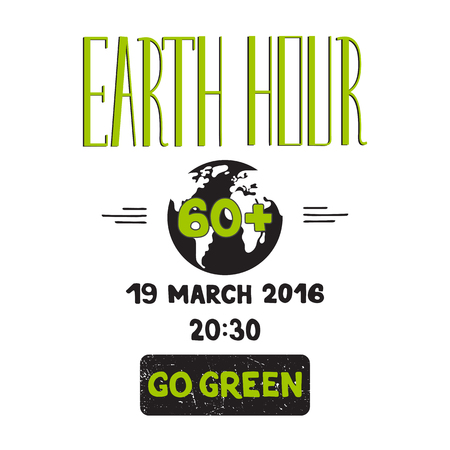 hour hand: Vector hand drawn lettering on white background. Retro style calligraphy for Earth hour. For greeting card, logo, badge, print, poster, party design. Illustration