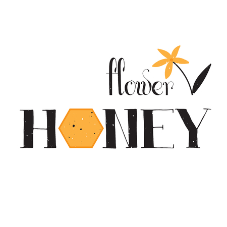 food production: Vector hand drawn lettering. Flower honey. Handwritten unique phrase, black on white background. Calligraphy for card, logo, badge, tag and other designs. Honey natural healthy food production.