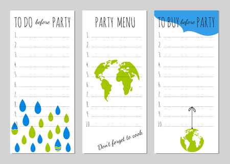 eco notice: Vector set of checklists for Earth Day party. Menu, shopping and to do list. Party organizer, printable template. For stationery, scrapbooking, notebooks, gifts decoration, greeting designs.