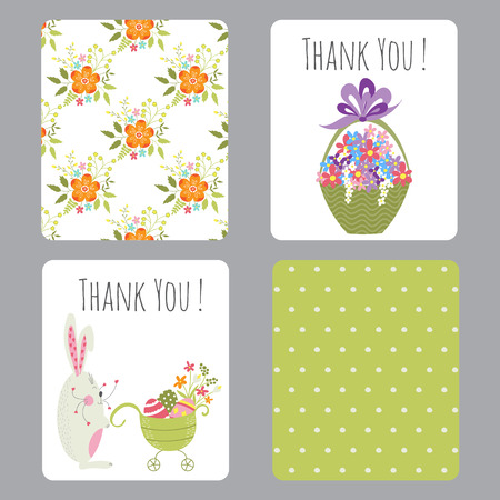Vector set of easter small cards with funny bunnies and flowers vector vector set of easter small cards with funny bunnies and flowers colorful spring printable templates for easter greeting cards invitations gifts negle Images