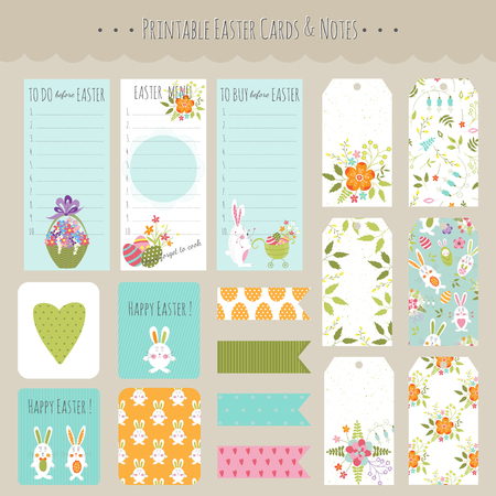 baby stickers: Vector big set of Easter cards, tags, notes and stickers with funny bunnies and flowers. Colorful spring printable templates. For Easter greeting cards, invitations, stationery, gifts decoration.