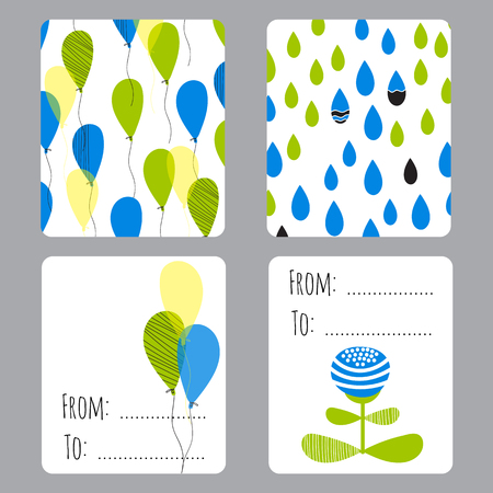 eco notice: Vector set of small card templates with place for text. For greeting cards, brochures, tags and labels, souvenirs, invitations, calendars and party designs.