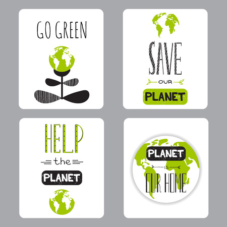 Vector set of small card templates. Suitable for Earth Day and Earth hour holidays. For greeting cards, brochures, tags and labels, souvenirs, invitations, calendars and party designs.