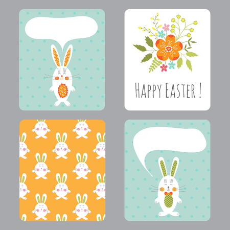Vector set of easter small cards with funny bunnies and flowers vector set of easter small cards with funny bunnies and flowers colorful spring printable templates negle Images
