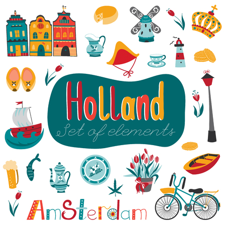 Vector set of traditional Netherlands elements. Travel touristic background. Holland, Amsterdam. For greeting cards, travel brochures, tags and labels, souvenir production, invitations, calendars.