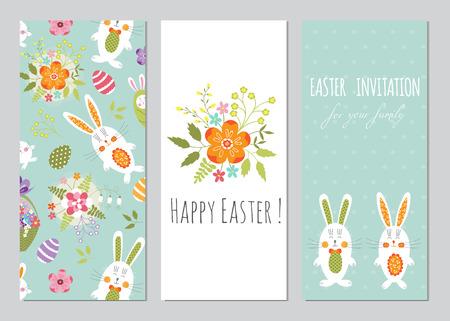 Conjunto Del Vector De Pascua Pequeñas Tarjetas Con Conejos ...