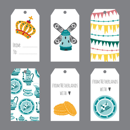 touristic: Netherlands vector set of tag templates with traditional Holland elements. Travel touristic illustration. For greeting cards, invitations, souvenirs and gifts decoration, sales design, scrapbooking.
