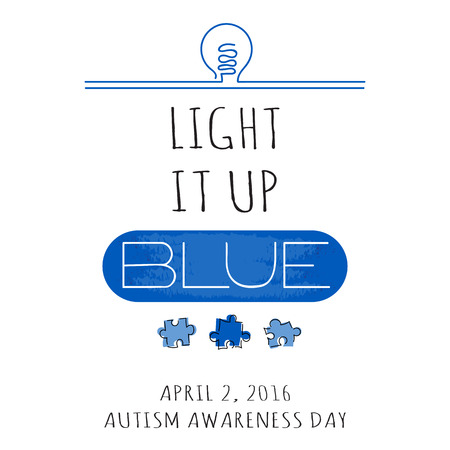 developmental disorder: Vector hand drawn lettering. Retro style calligraphy, World Autism Awareness day announcement. Light it up blue. For greeting card, , badge, print, poster, banner design.