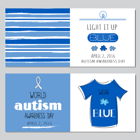 social awareness symbol: Vector set of horizontal banner templates. Lettering Light it up blue for World Autism Awareness day. For poster, cards, brochures, tags and labels, souvenirs, invitations, calendar designs. Illustration