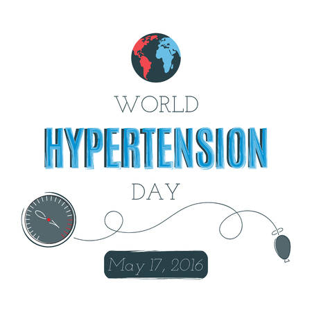 high tension: Vector typography on white background, card template. Retro style calligraphy, World Hypertension day announcement. For greeting card, logo, badge, print, poster, banner design.